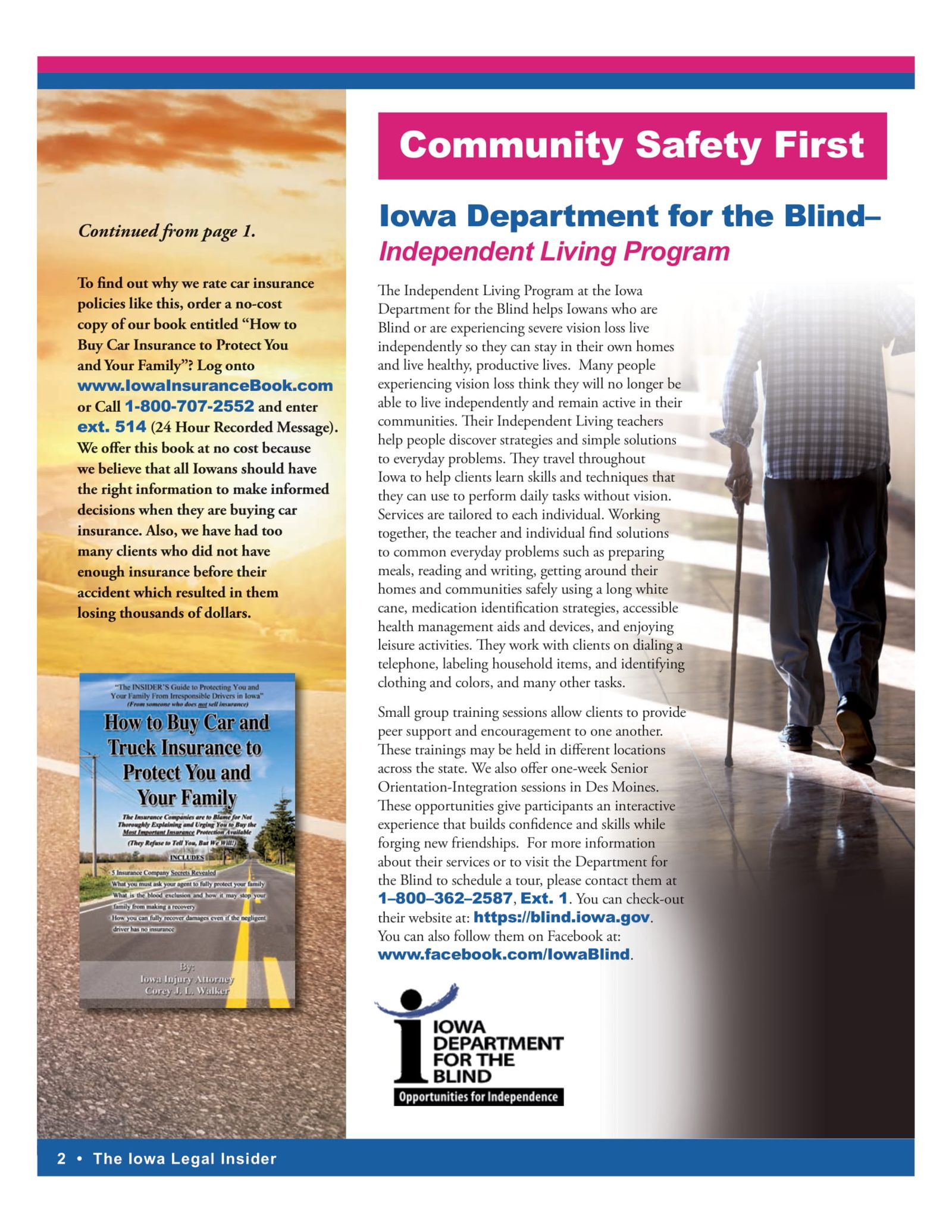 iowa department of the blind independent living program