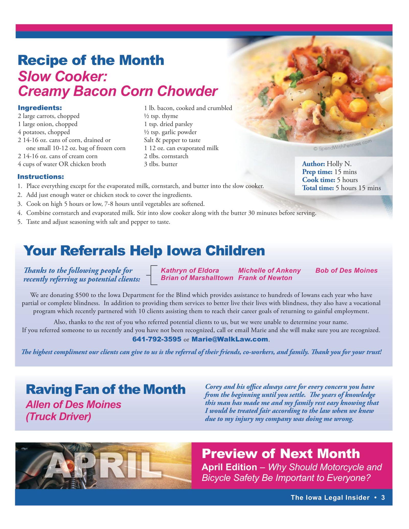 iowa legal insider bacon corn chowder recipe