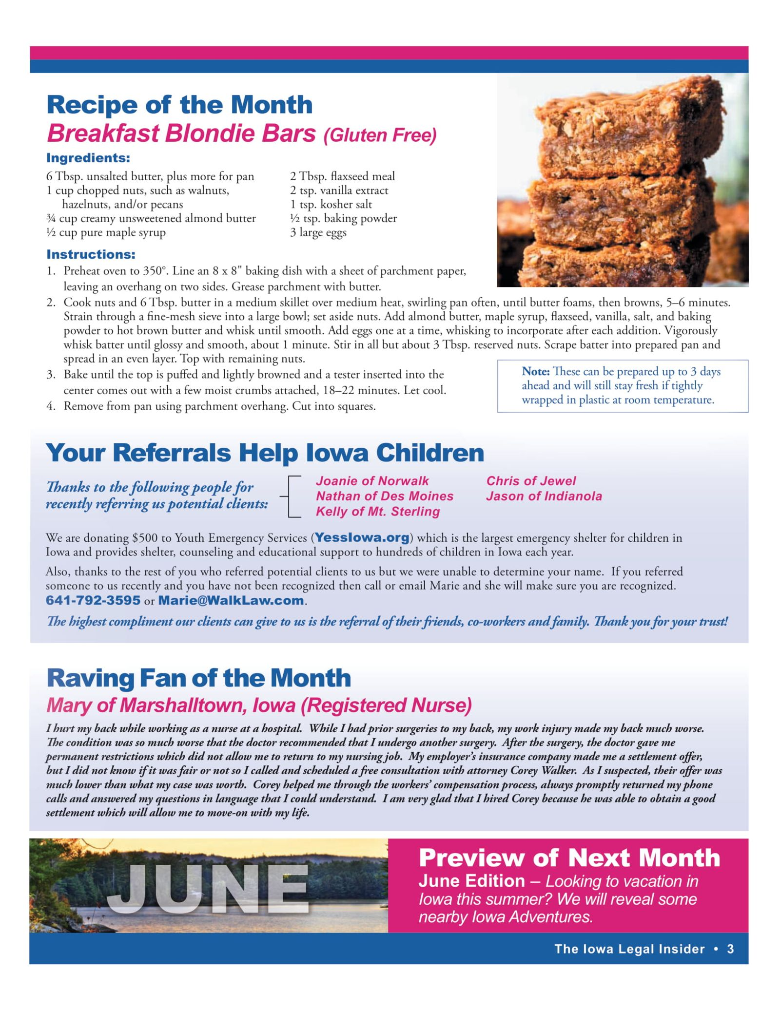 recipe of the month blondie bars