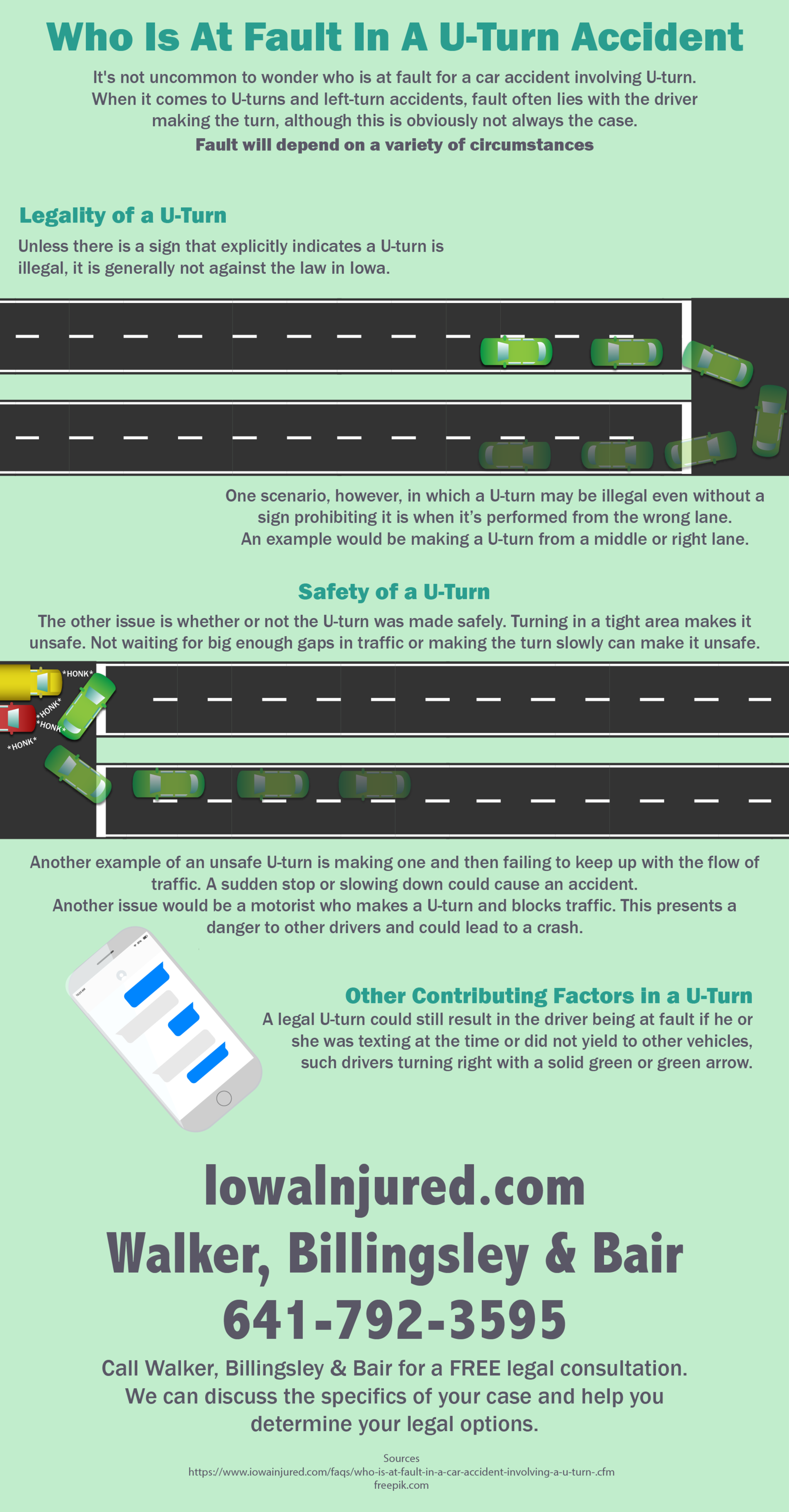 Who is at fault in a uturn accident inforgraphic