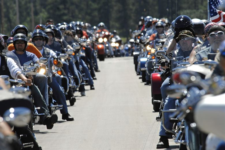 Long line of motorcycle riders information at Myrtle Beach Bike Week