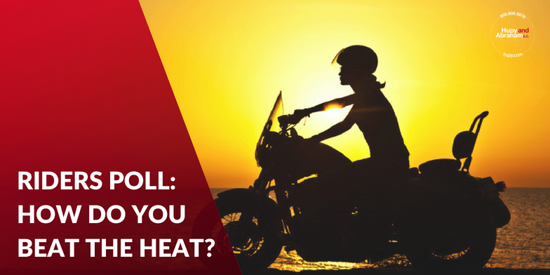 Tell us which ways you think work best to stay cool AND safe this summer while on two wheels!