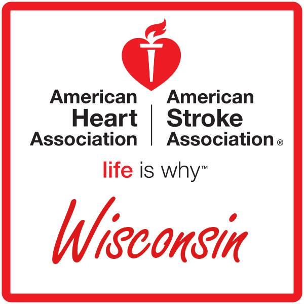 American Heart Association with American Stroke Association with life is why text for Wisconsin thanking Hupy and Abraham