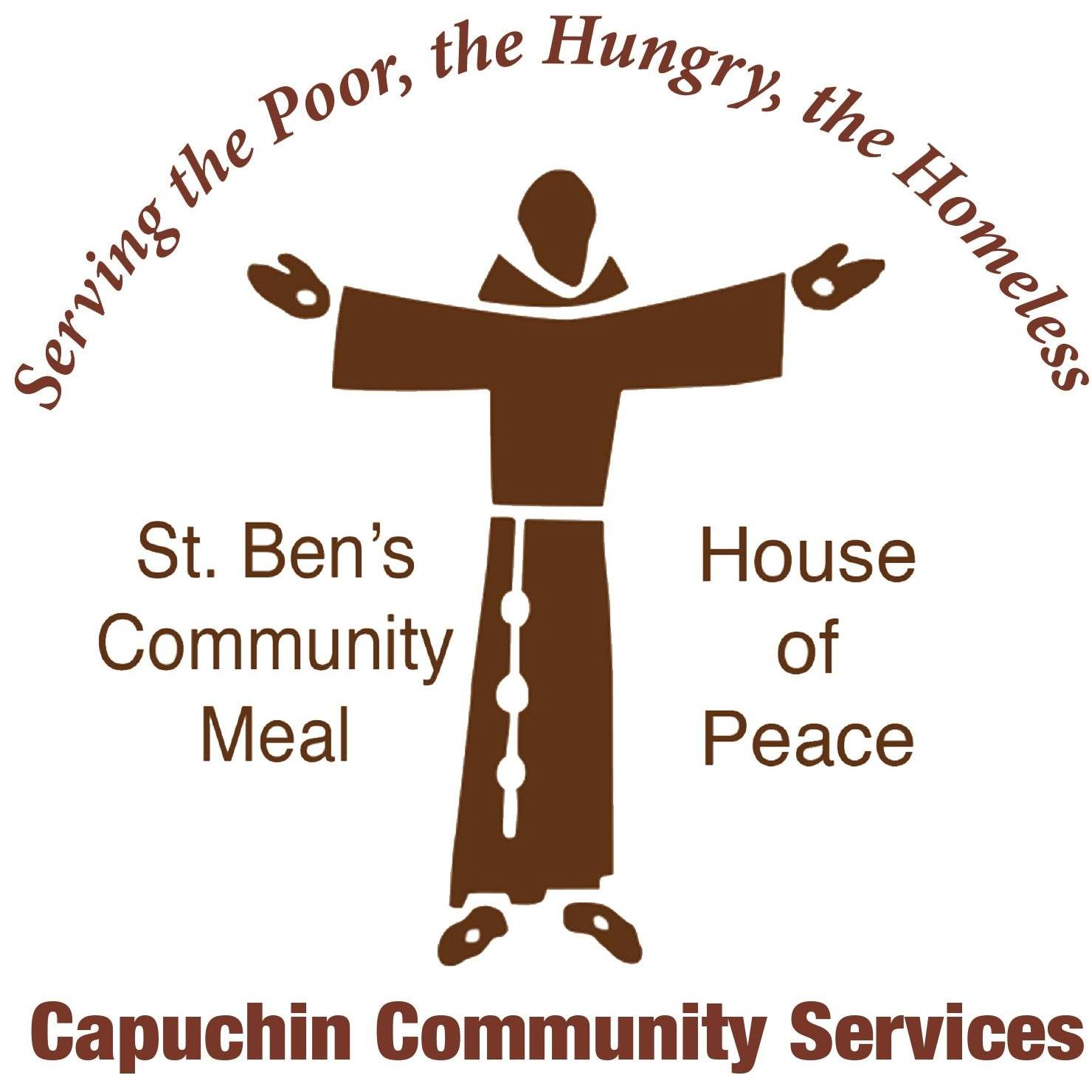 Logo of Serving the poor, the hungry, the homeless Capuchin Community Serive with Jesus having his arms open thanking Hupy and Abraham