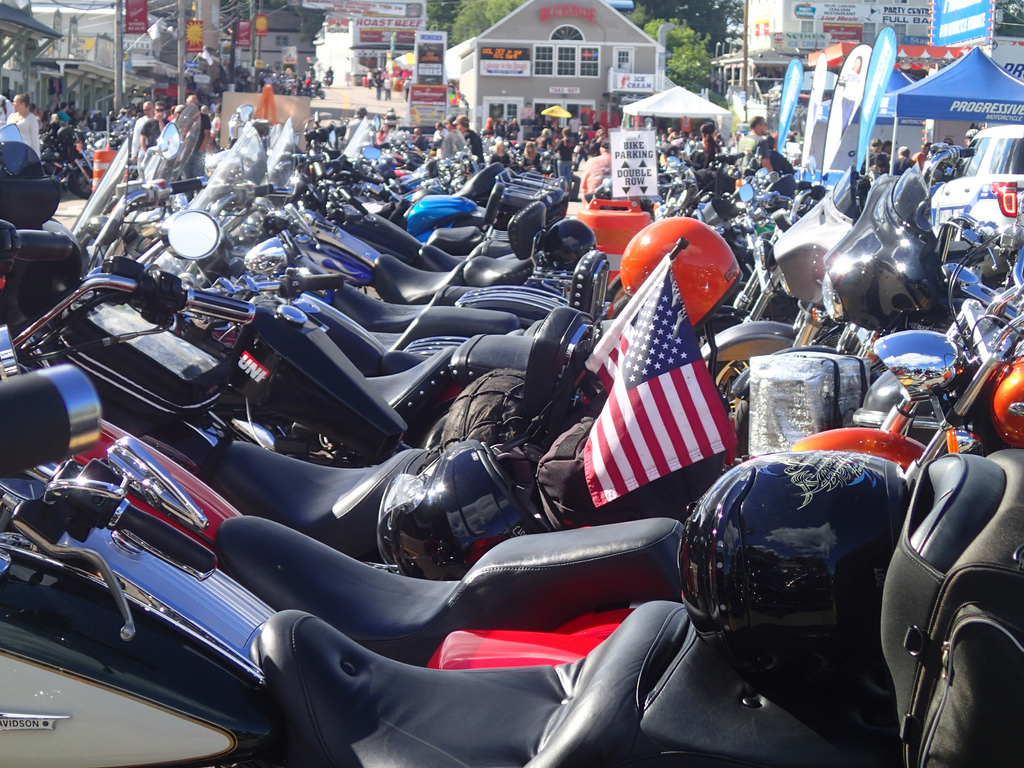 Row of motorcycles at Laconia Motorcycle Week