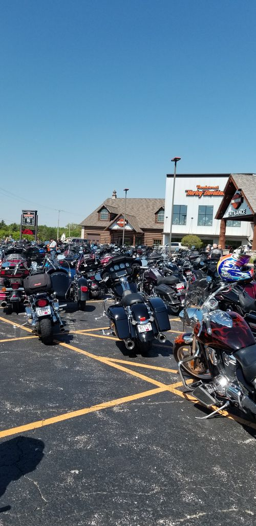 crowds gather at Vandervest Harley-Davidson