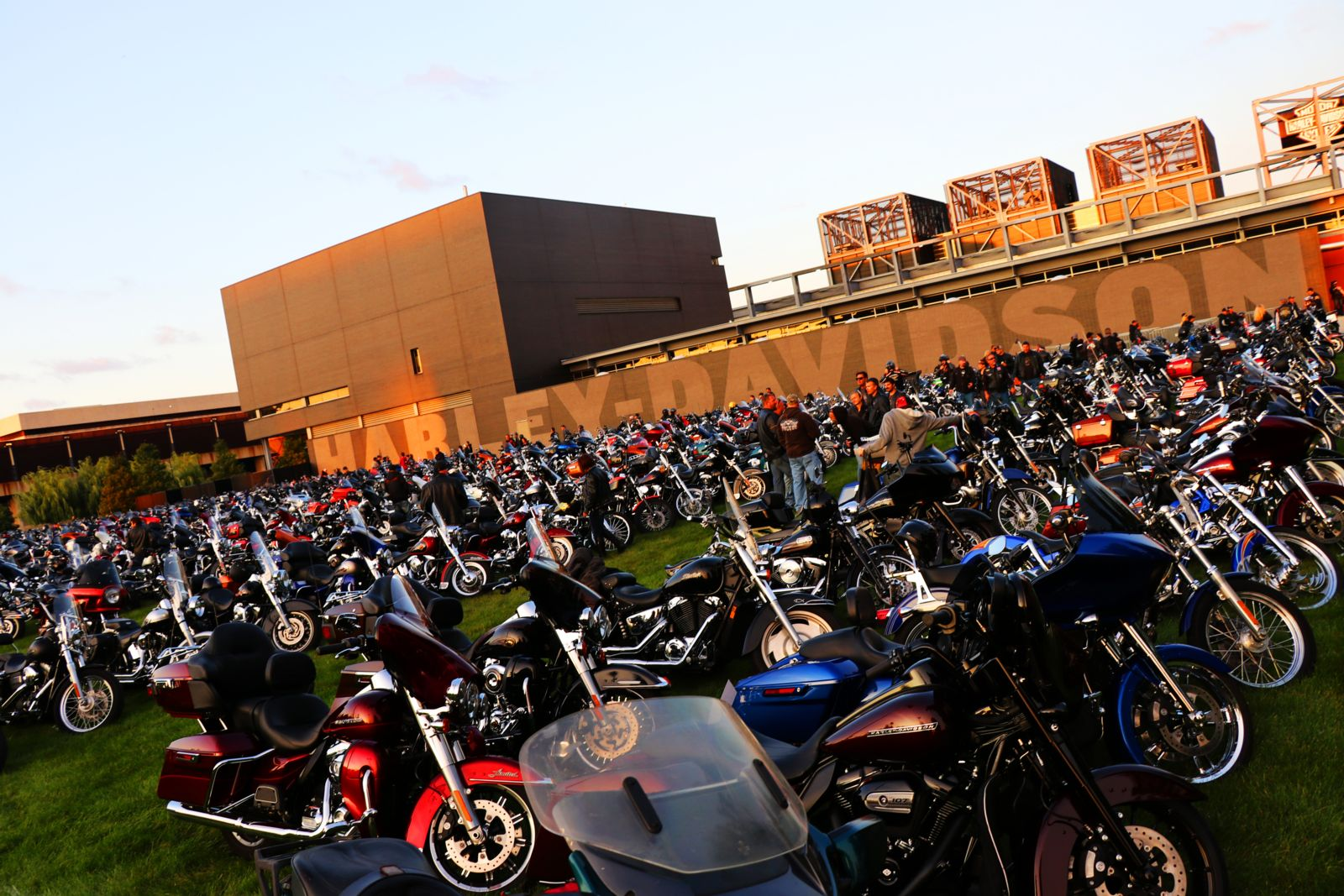 Hundreds of bikes lined up for Milwaukee Rally