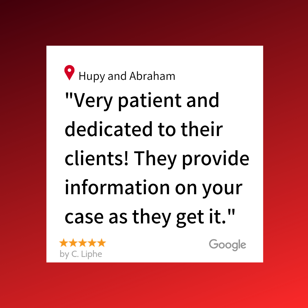 """A 5 star Google review from our client C. Liphe! """"Very patient and dedicated to their clients! They provide information on your case as they get it."""""""