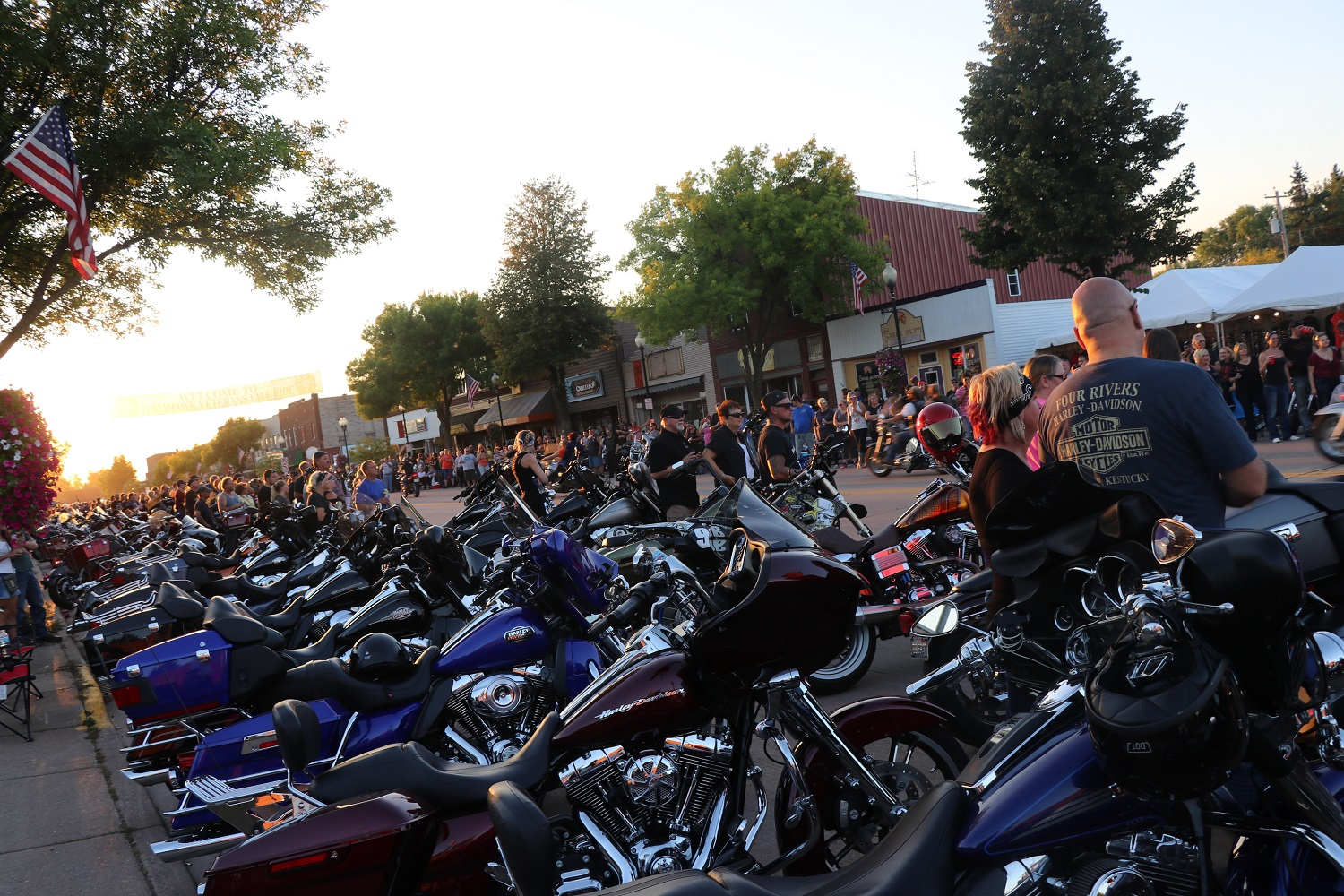Line of motorcycles at the 37th Annual Tomahawk Fall Ride and Rally