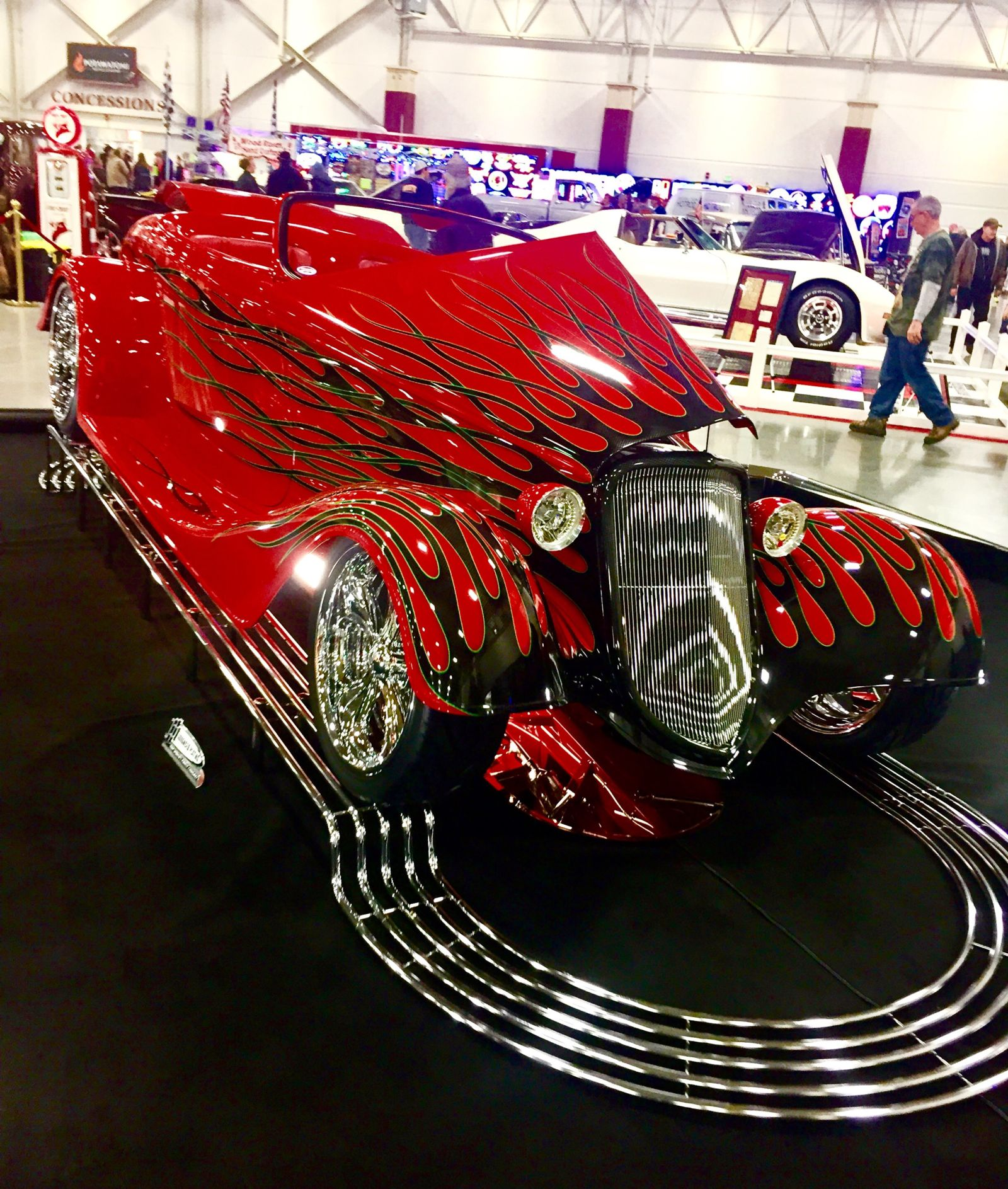 Red hotrod at World of Wheels event
