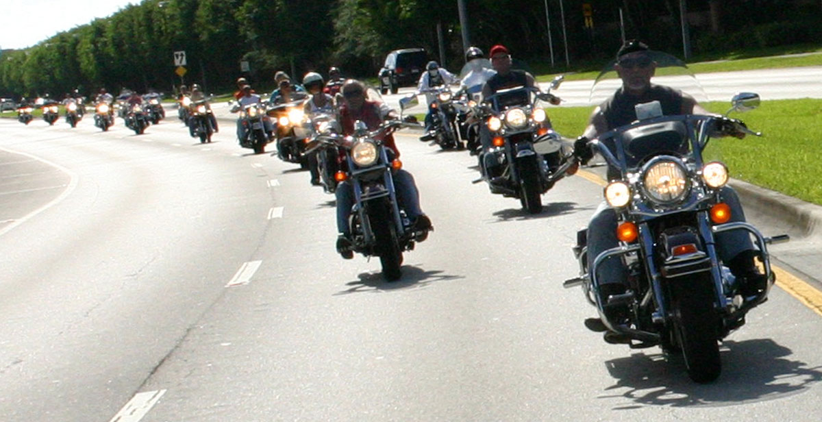 Long line of motorcycles on sunny day