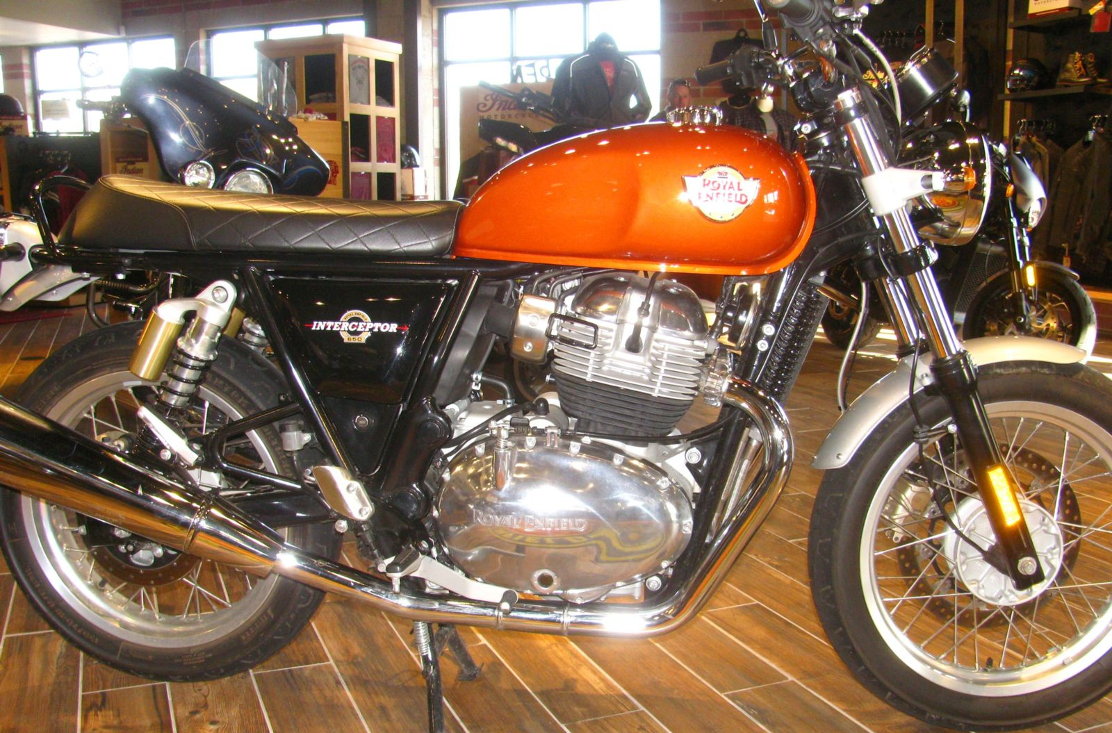 Interceptor 650 with Orange Crush paint