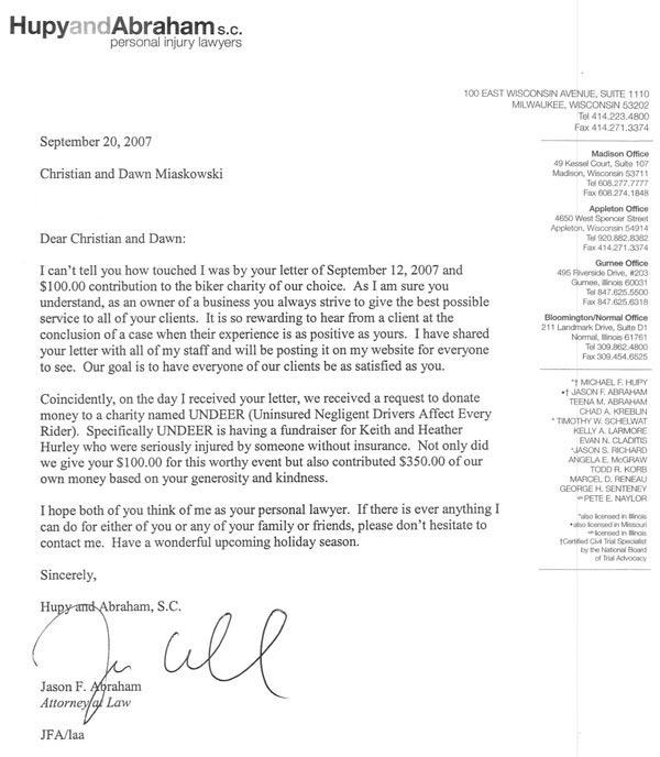 Letter to Christian and Dawn Miaskowski