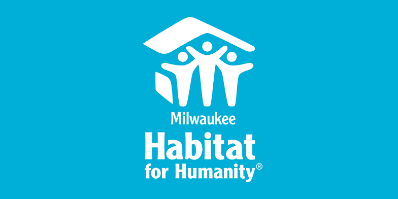 Logo of Milwaukee Habitat for Humanity with illustration of people under a house thanking Hupy and Abraham