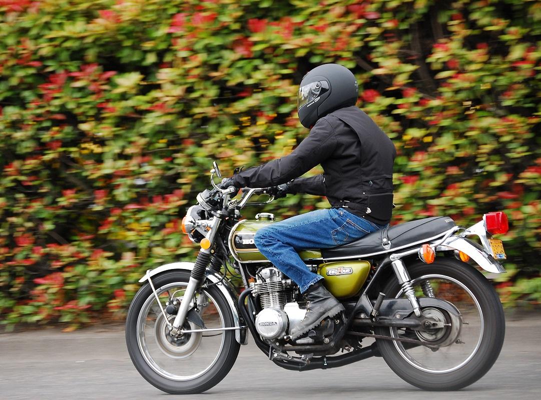 Motorcycle rider on starter bike