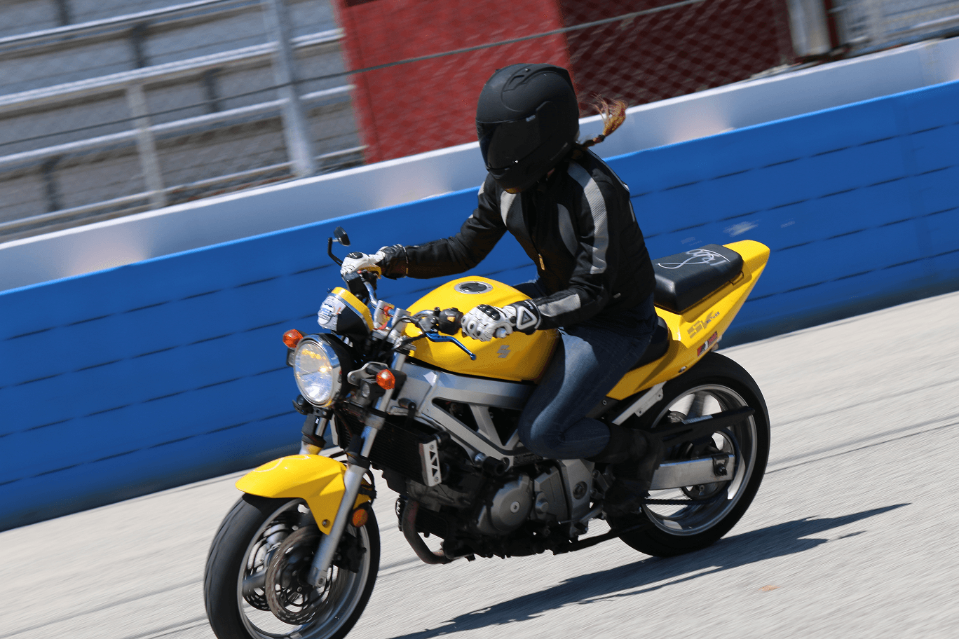 Rider practicing Emergency Braking during motorycle safety course