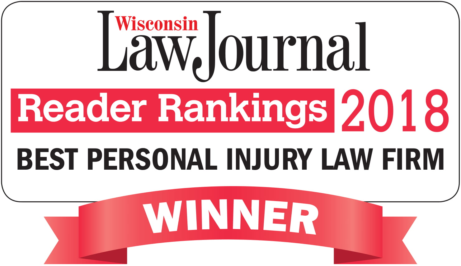 WI Law Journal Reader Rankings Best Personal Injury Law Firm 2018
