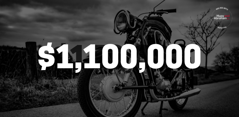 A motorcycle rider received $1.1 Million after he was injured by a negligent driver.