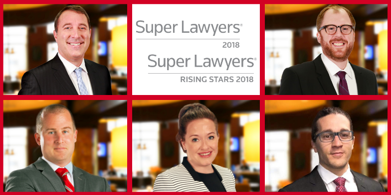 Attorney Jason Abraham (left) was chosen for the 2018 Wisconsin Super Lawyers list while Attorney Robert Domol (right) was recognized on the 2018 Wisconsin Rising Stars List. Attorneys Thomas Hillers, Jenna Green and Benjamin Lynch (left to right) were recognized on the 2018 Great Plains Rising Stars list.
