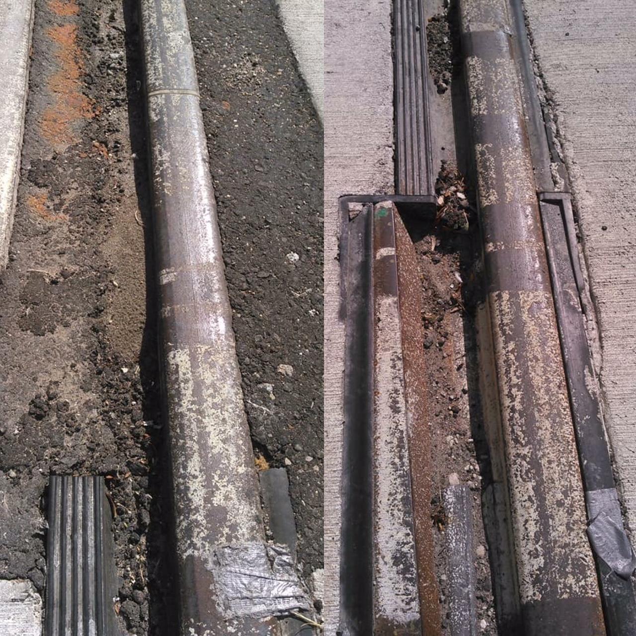 Broken uneven street car tracks