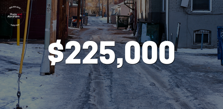 Our client received a $225,000 settlement after slipping in an icy alleyway