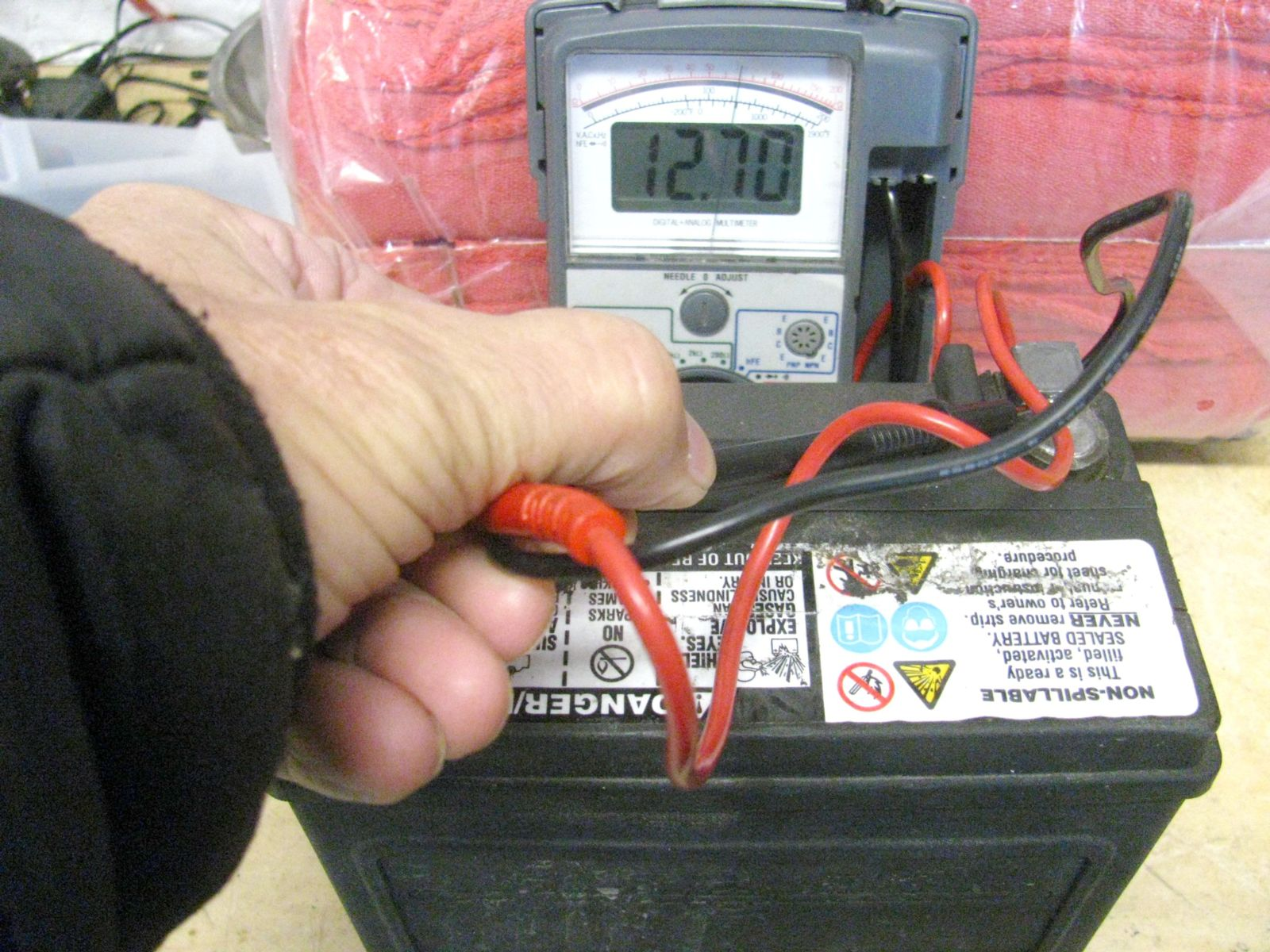 Testing motorcycle battery for proper charge