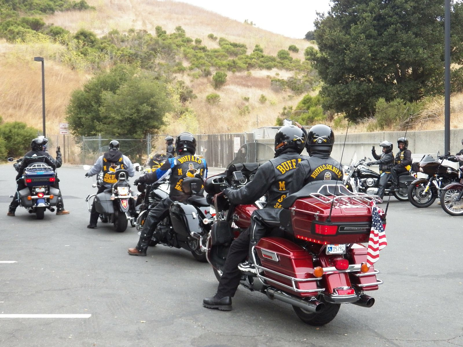 Motorcycle Group getting into formation for a ride