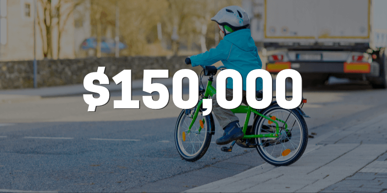 $150,000 for Boy Hit On His Bicycle