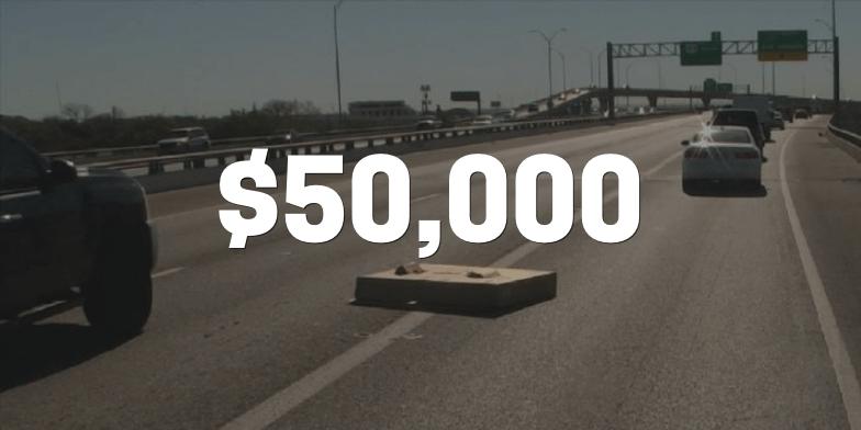 $50,000 for Rider Struck By Highway Debris