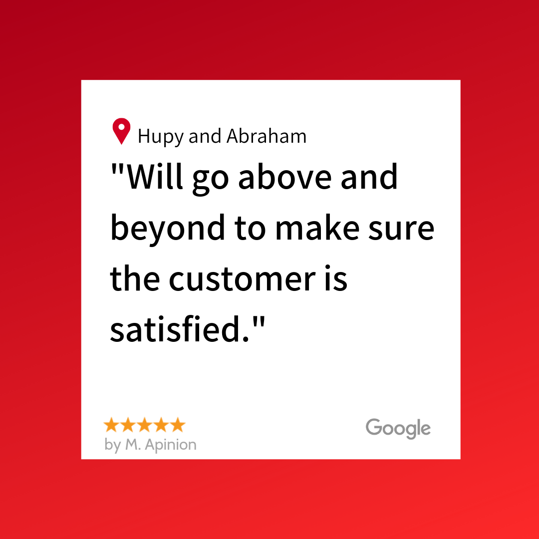 A 5 star Google review from M. Apinion