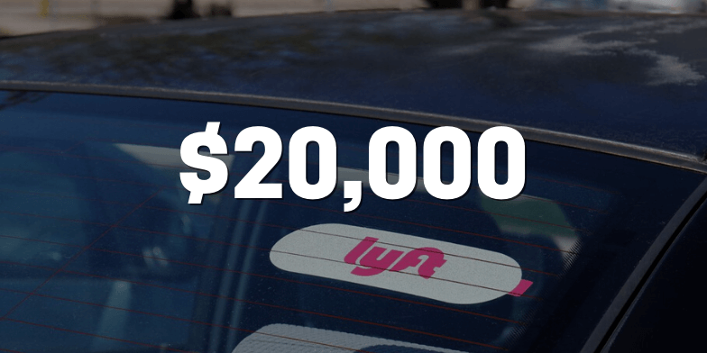 $20,000 for Motorcycle Rider Hit By A Lyft Vehicle