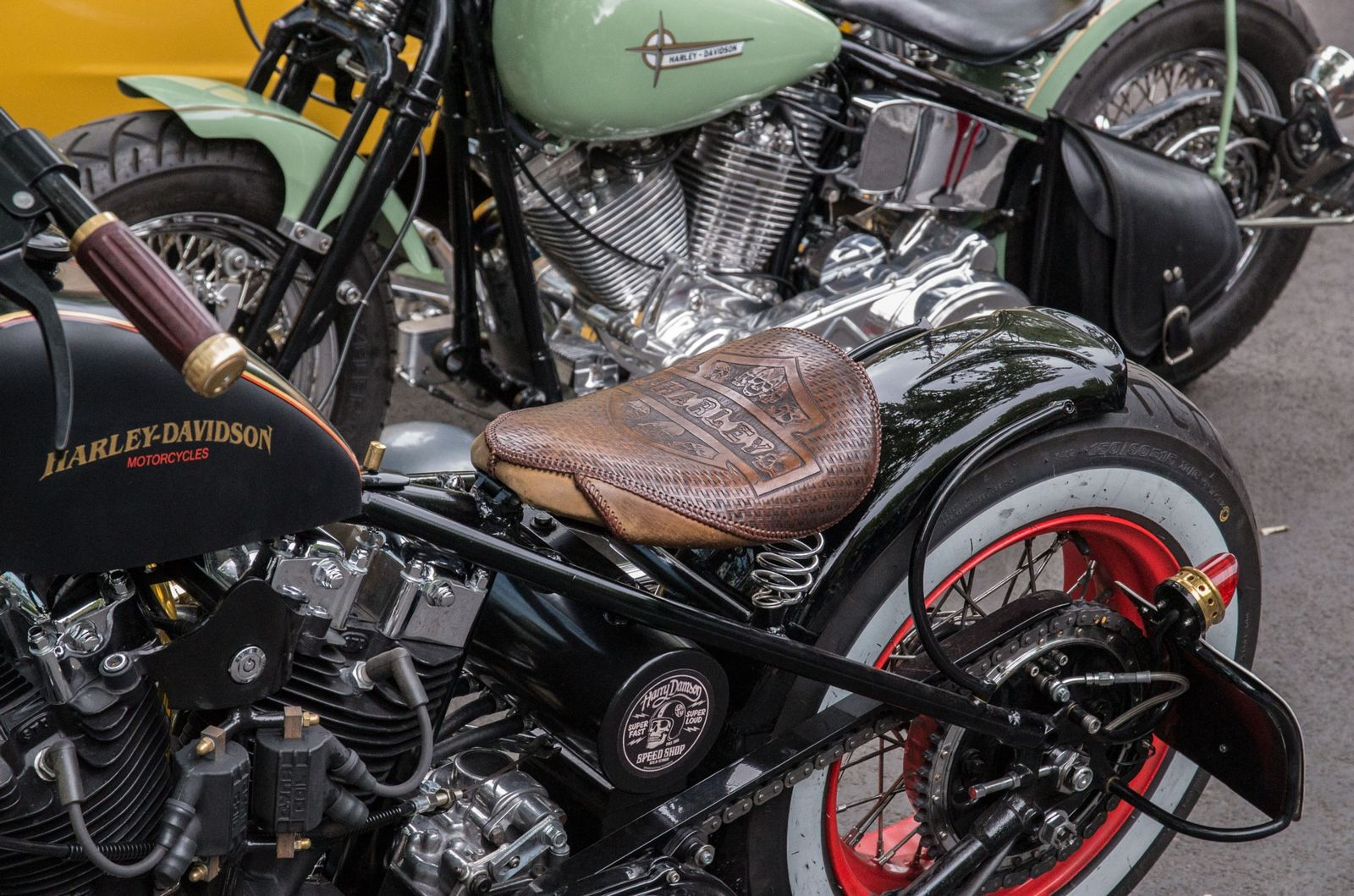 Classic Harley Davidson motorcycle with custom made leather seat