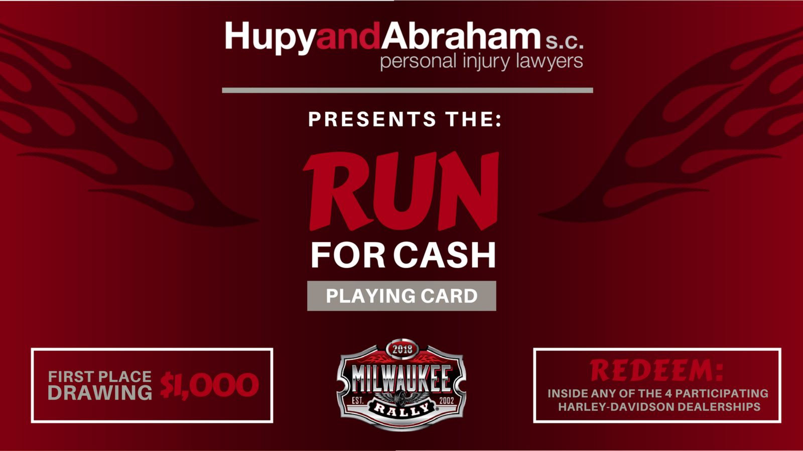 Flyer presenting the Run for Cash event presented by Hupy and Abraham