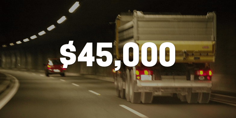 $45,000 for Client Rear-Ended by Dump Truck
