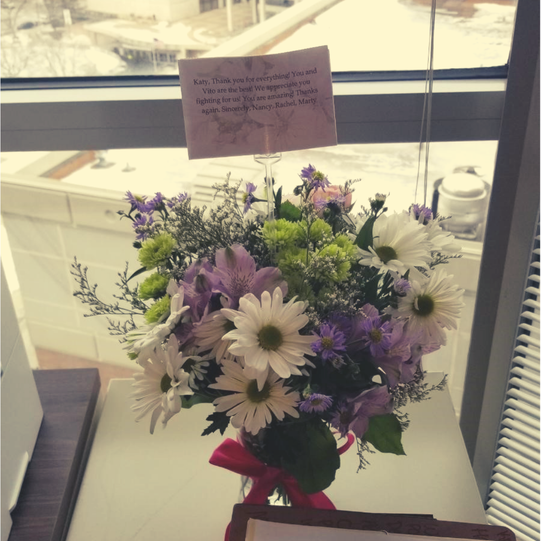 Flowers and thank you note from a client