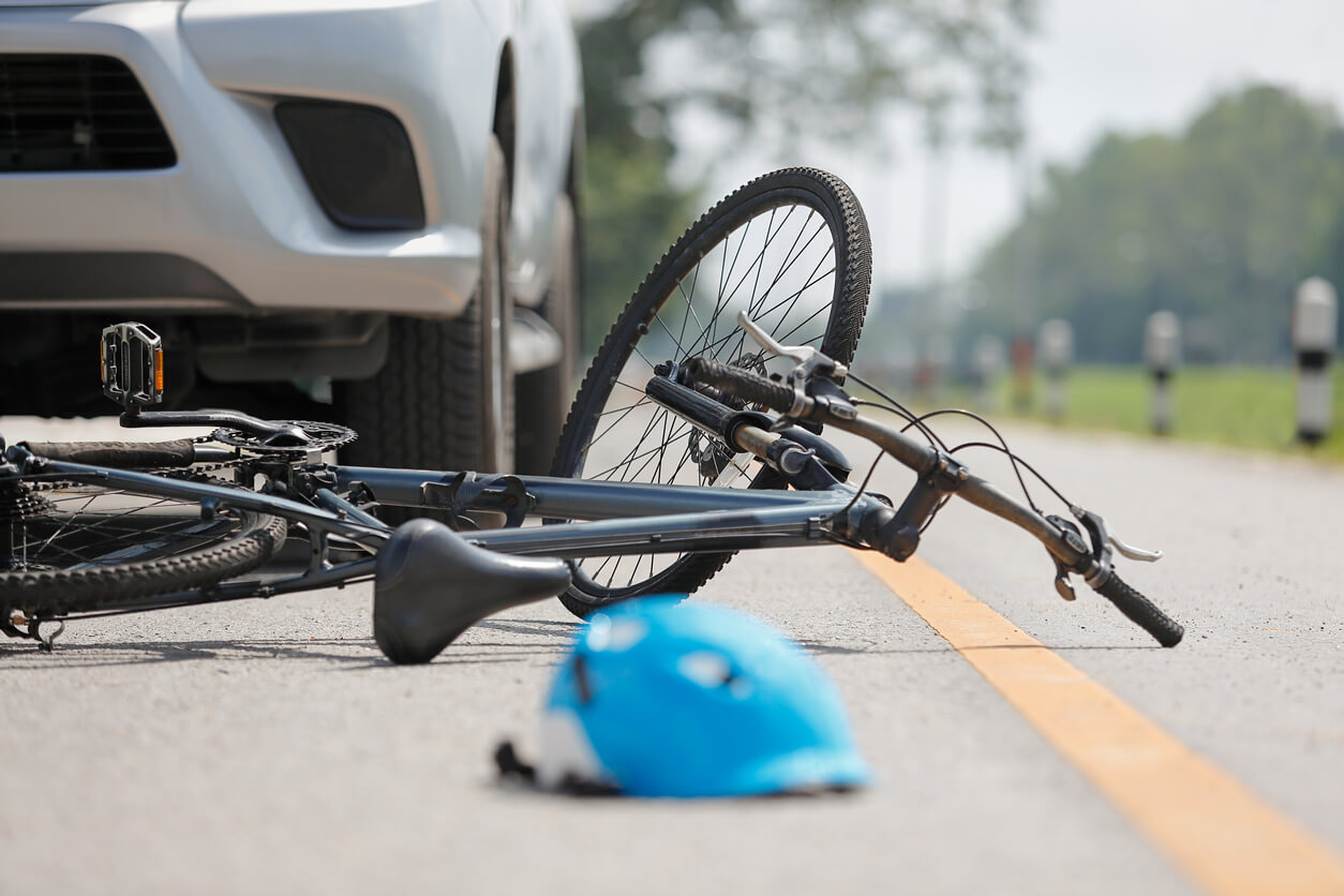bicycle on the road after an accident