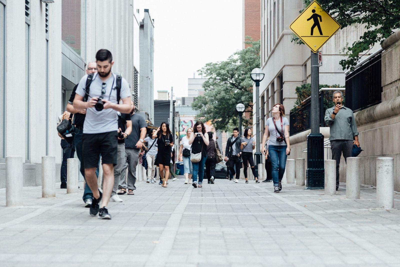 Pedestrians walking in city