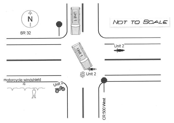 Diagram of a car accident that took place in Anderson, IN.