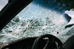 Broken Windshield After an Auto Crash