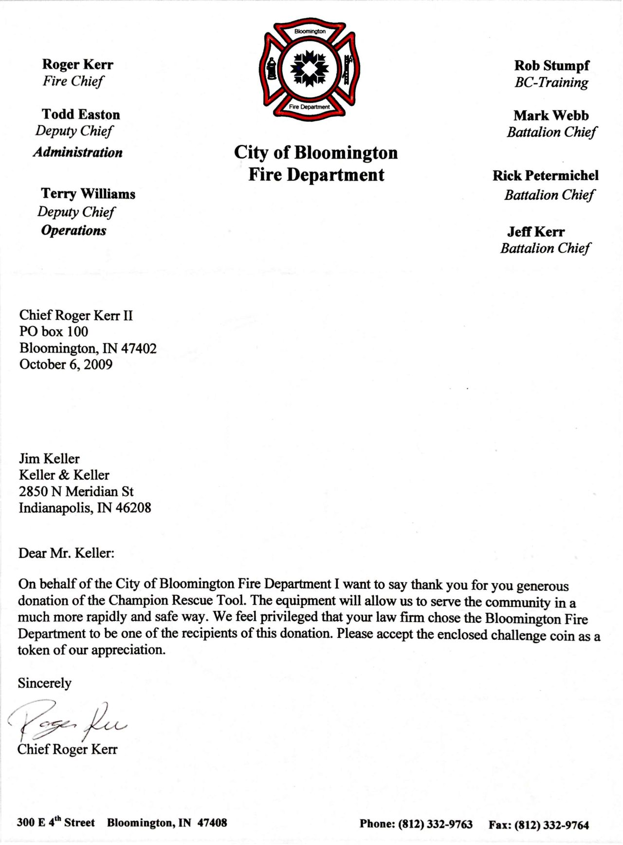 City of Bloomington Fire Department Thank You Letter