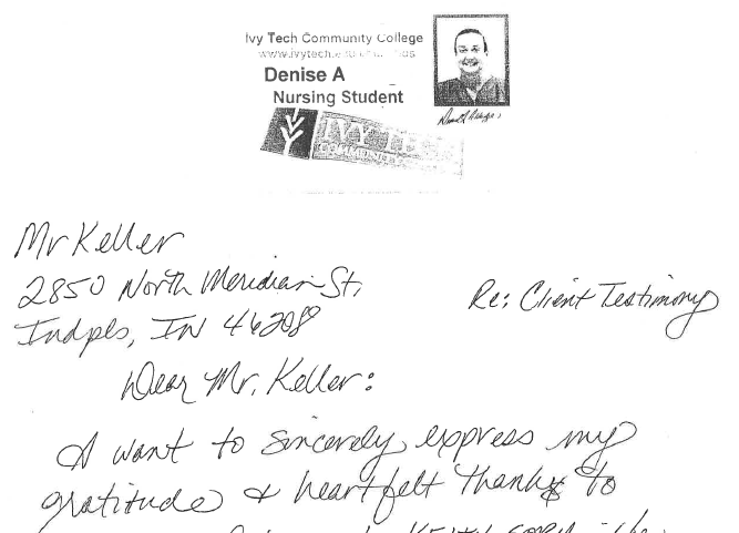 Handwritten testimonial from happy Keller & Keller client