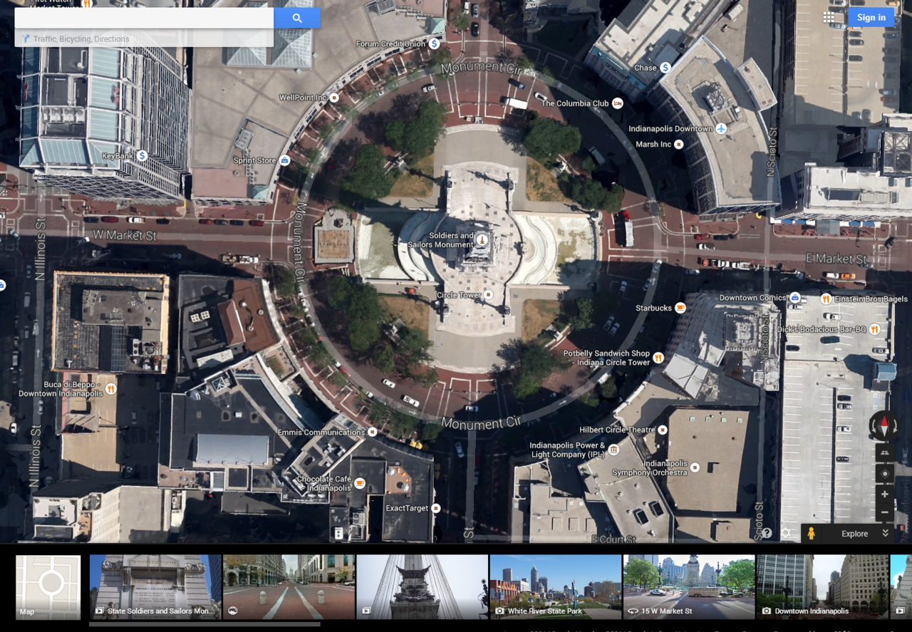 Earth image of Indianapolis circle