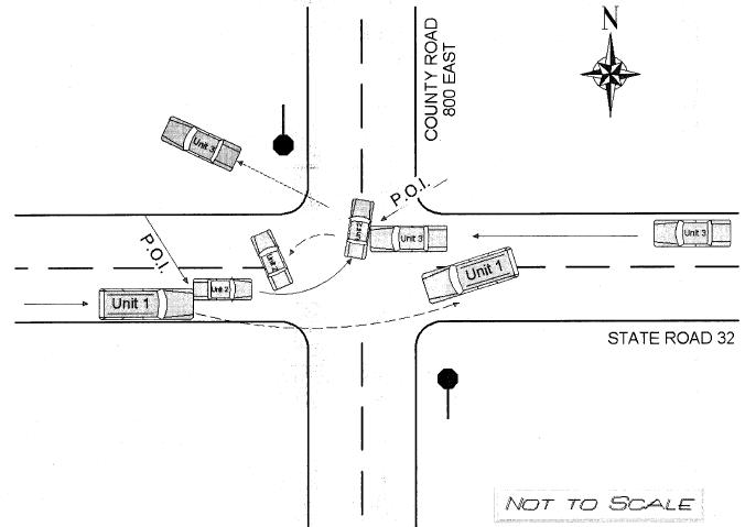 Diagram of a car accident in Muncie, IN.
