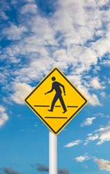 Yellow Pedestrian Walkway Sign