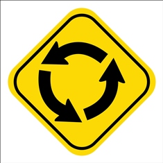 Yellow Roundabout Traffic Sign