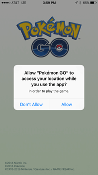 Screencapture from the popular Pokemon Go game.