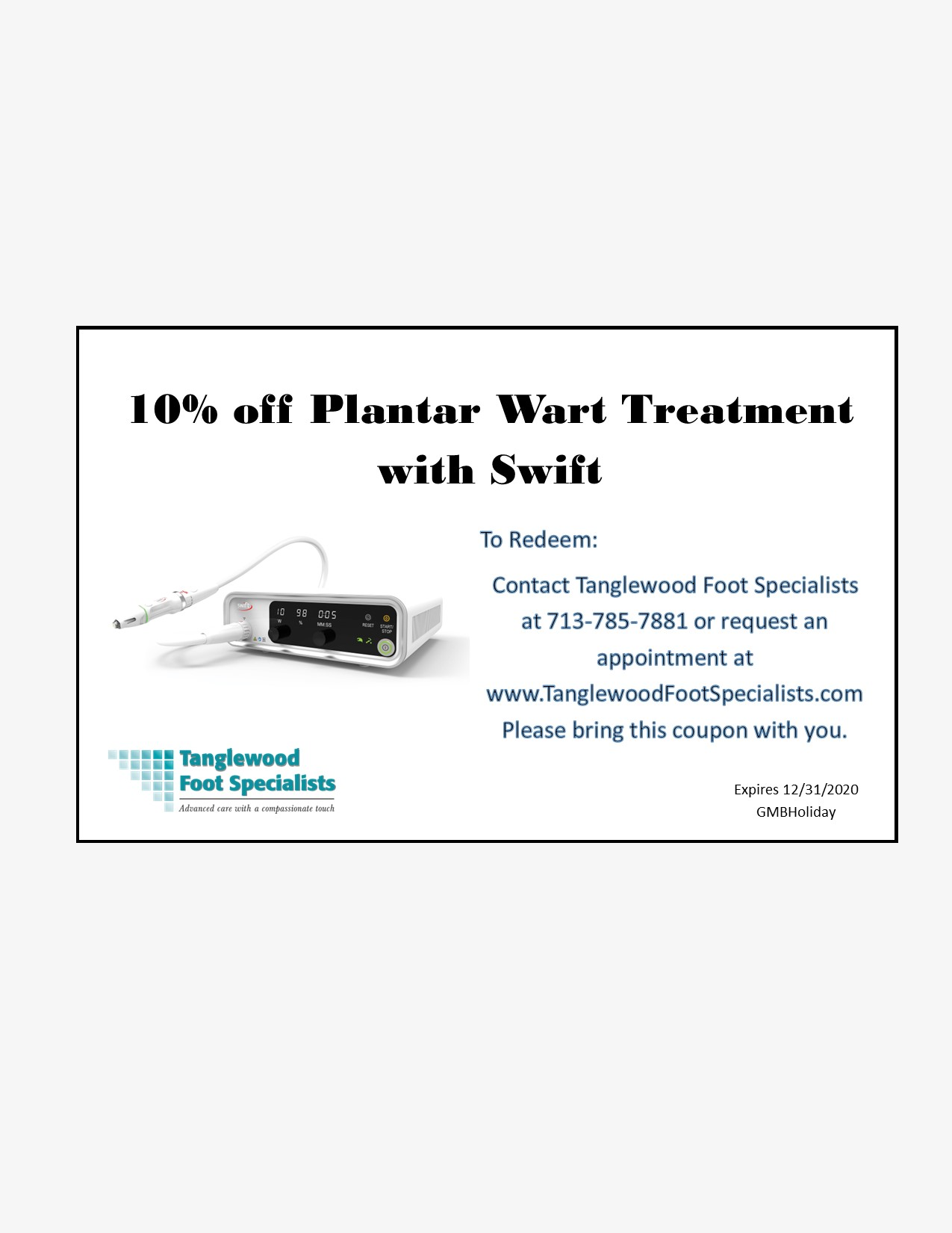 Houston podiatrist is offerring 10% off Swift Treatment for Plantar Warts