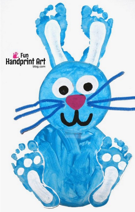 This sweet foot print bunny makes a great Easter (or any time of year) craft!