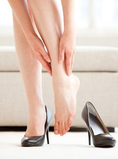 A classic example of a high-heel related injury in the making