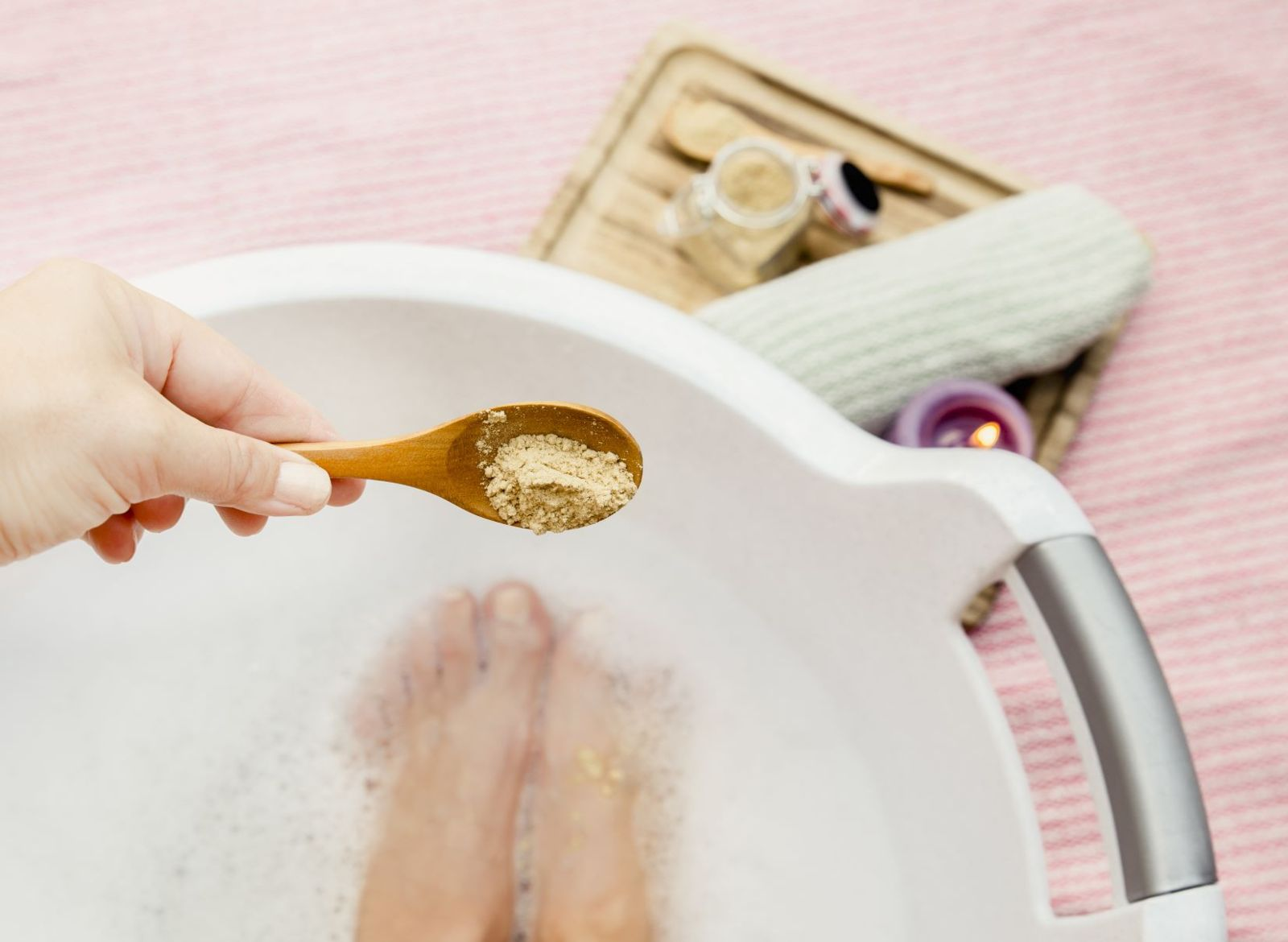 Tough on your feet last night? Give them a healing soak with epsom salt for a next-day recovery fix